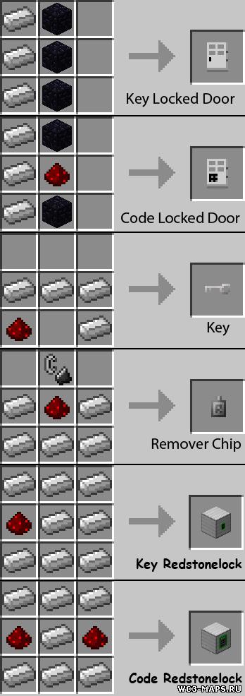 Key and Code Lock мод для Minecraft 1.7.2/1.6.4/1.5.2 скачать